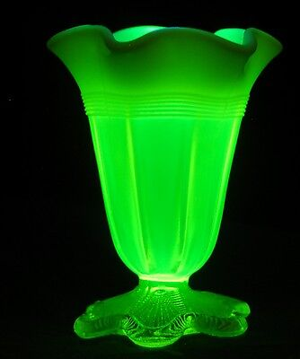 Vintage Citrine Vaseline Uranium Glass Footed Vase