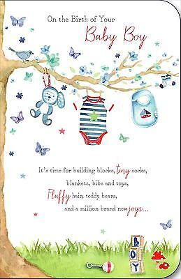 on the birth of your new baby boy congratulations greeting card