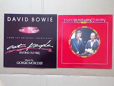 """David Bowie 2 X 12"""" Disc Peace On Earth/l Drummer Boy + Cat People Ext Version"""