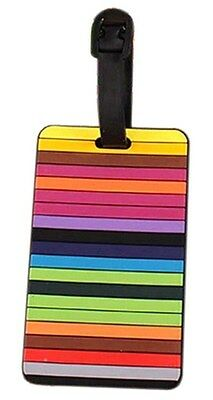 LARGE STRONG COLOURFUL PVC LUGGAGE BAGGAGE TRAVEL TAG 10 cm X 6 cm NAME ADDRESS