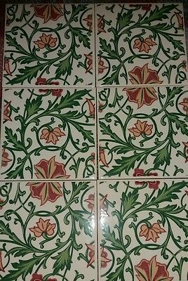 Hr Johnson Set Of 6 Tiles. Lovely Floral Design
