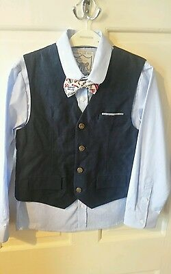 Monsoon Boys 3 Piece Set, Shirt, Bow Tie & Waistcoat in Navy, Age 10 Years, BNWT