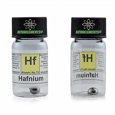 Hafnium metal element 72 Hf sample pellets 1 gram 99,95% in labeled glass vial