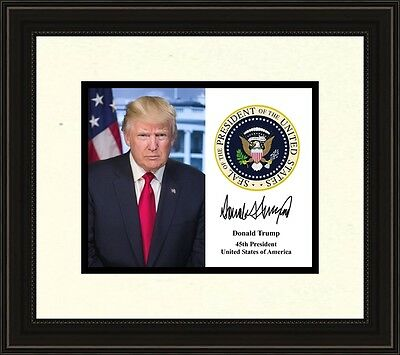 president donald trump presidential seal autograph 8 x 10 photo framed picture