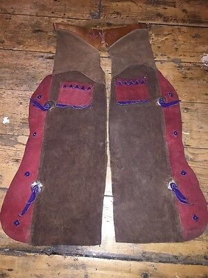 "Antique Vintage Western Child's Cowboy Chaps Leather & Suede 1950's  ""Rhodeo"""