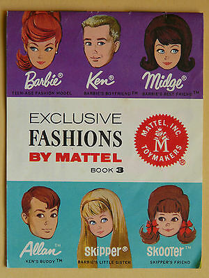 "Barbie catalogue MATTEL 60's vintage ""exclusive fashion book 3"" TBE, original"