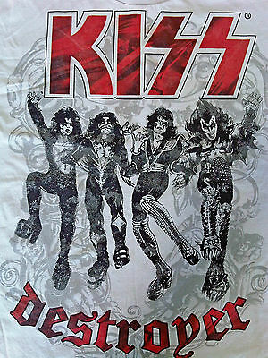 KISS Destroyer T-Shirt Gray 2 Sided Rare Large, Song List, Detroit Rock City