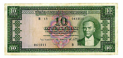 Turkey … P-161 … 10 Lirasi … L.1930(1960) … *F-VF*