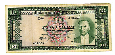 TURKEY…..P-160…..10 Lira…..L.1930(1953)…..*VG/F*