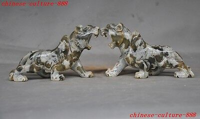 Chinese natural old jade carving fengshui Tiger animal zodiac year lucky statue
