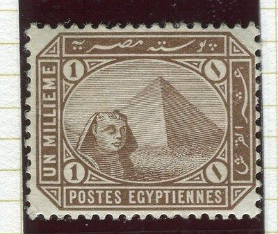 EGYPT;   1902-06 early Pyramid Sphinx issue fine Mint hinged 1m. value,