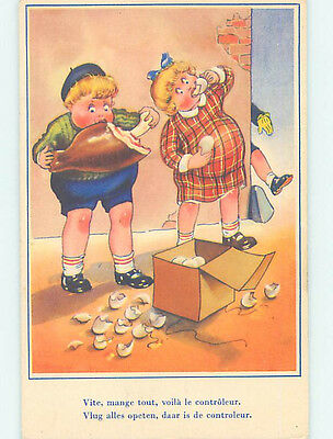 Unused Pre-Chrome foreign GIRL AND BOY EAT EGGS AND MEAT ON THE STREET J5142