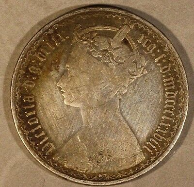 """1878 Great Britain """"Gothic"""" Florin Circulated       ** FREE U.S. SHIPPING **"""