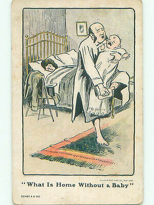 Pre-1907 comic SUFFRAGE INTEREST - WOMAN SLEEPS WILD MAN LOOKS AFTER BABY k3167