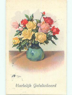 Pre-Chrome foreign BEAUTIFUL ROSE FLOWERS IN ANTIQUE GREEN VASE J4500
