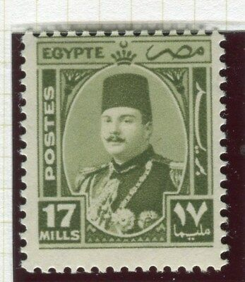 EGYPT;  1944 -51  early King Farouk issue fine Mint hinged 17m. value