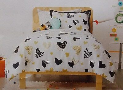 Pillowfort 5 Pc Twin Comforter Sham + Sheets Bed Set ~ NWT Gold Black Hearts