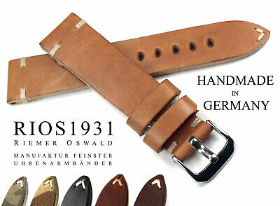 Uhrband 22mm RIOS1931 Vintage Retro Look Leder BAND Strap handmade Germany 22/18