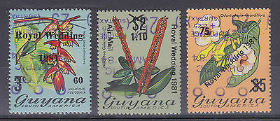 Guyana 1981 Royal Wedding overprint 3x Olympic Games 1984 inverted mint MNH