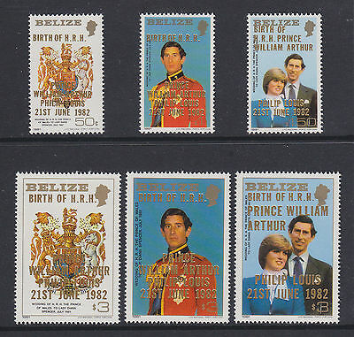 Belize 1981 Royal Wedding overprint Birth of Prince William 1982 set of 6 MNH