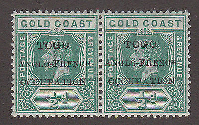 Togo 1915 sg H34 Gold Coast ½d green overprint Anglo-French Occ. pair mint MNH