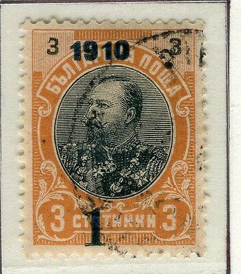 BULGARIA;  1910 Ferdinand surcharged issue fine used 1/3s. value