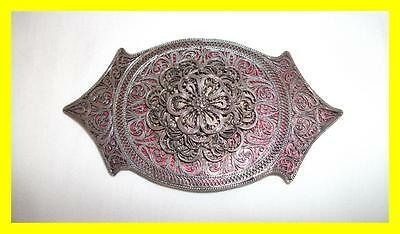 Circa 1900 Russian/persian Silver Filigree Large Belt Buckle, On Pink Backing