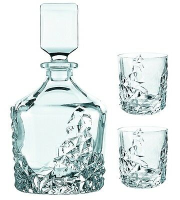 "Nachtmann ""Sculpture"" 3Pc. Crystal Whiskey Decanter & Two Glasses Set 0091900-0"