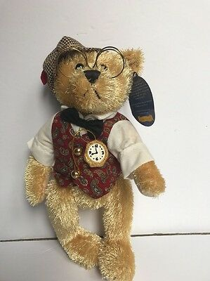 "The Brass Button Bear Bentley Glasses Watch Stuffed Animal Plush 12""2004"