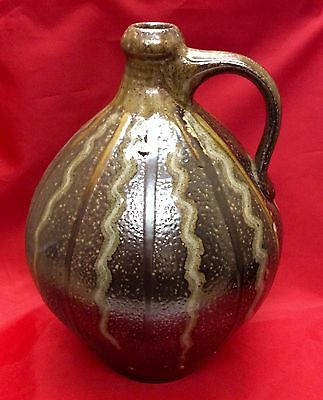 "Early Mark Hewitt, N. C. Art Pottery, Ovoid Jug, Heavy Drip 12"" High"
