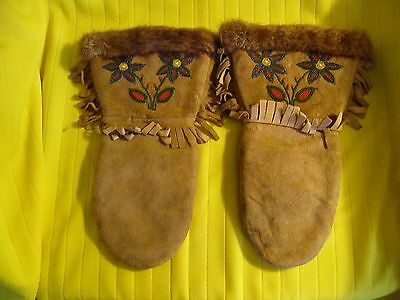 Cree Caribou Hide Hand Made Gaulets or Gloves, With Beaded Flowers on Front,