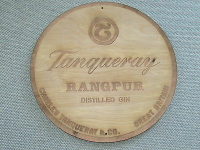 """Tanqueray Rangpur Gin 12"""" Round Wood Sign barrel Top end style"""