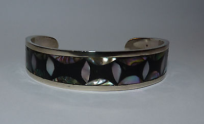 Mexican Alpaca Silver Cuff Bracelet Inlaid with Abalone & Mother of Pearl.
