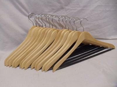 LOT of 14 Wood Wooden Natural Clothes Hangers w/ Non Slip Pants Bar