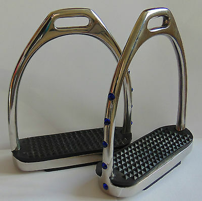 Equestrian Irons Dressage Stirrups With Black Treads & Crystal