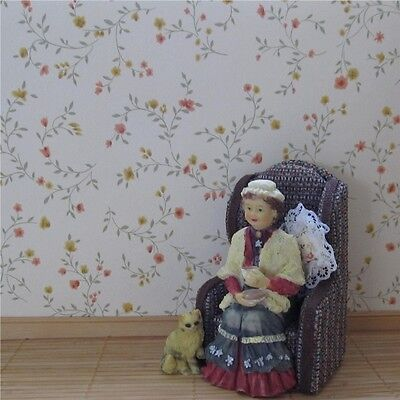 Dolls house wallpaper 2 x large sheets TWISTING BLOOMS [115]