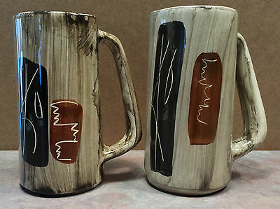 Laurentian Art Ware Hand Crafted Pottery Set of 2 Mug Beer Stein Quebec Canada