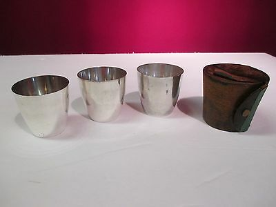 Tiffany & Co. Sterling Nested Tumblers With Leather Case 18126C Date Code M