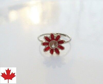 Cute and dainty LITTLE GIRL's Red FLOWER RING, size 4 and expands up to size 6