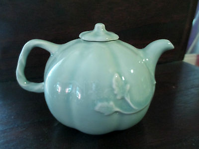 Exquisite  Chinese Celadon Porcelain Teapot Marked MMA PCM- Raised Leaf Pattern