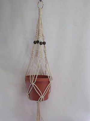 Macrame Plant Hanger Vintage Style 24 inch Beige COTTON CORD with BEADS