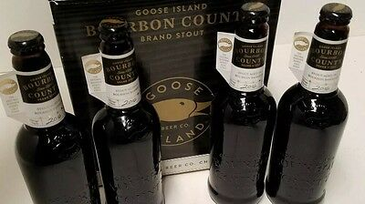 """4 X 2016 Goose Island Bourbon County Stout BCS Cellered """"Empty"""" New Beer Bottles"""
