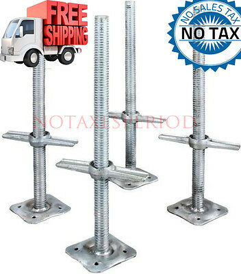 Adjustable 24 in. Steel Leveling Scaffolding Screw Jack with Base Plate (4-Pack)