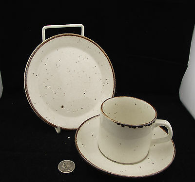 Cup Saucer Side Plate Trio  Lifestyle Meakin W Brown Specks