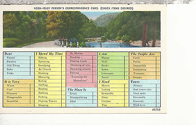 Highway and River Valley  Busy Persons Correspondence Card  Linen Postcard 1277