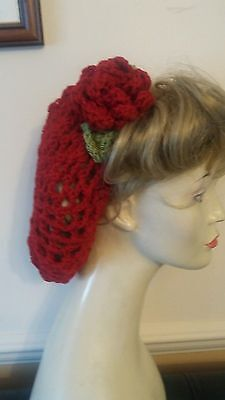 Red Rose Vintage style 1940's handmade hair snood wartime ww2