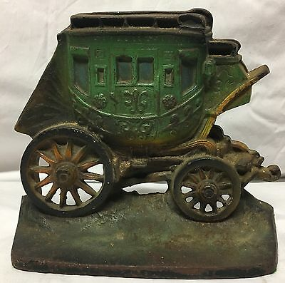 Vintage 1930 Cast Iron Horse Stagecoach Carriage Buggy Book End Door Stop