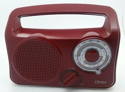 Retro style ONIX Portable Kitchen FM/AM Radio Red as New