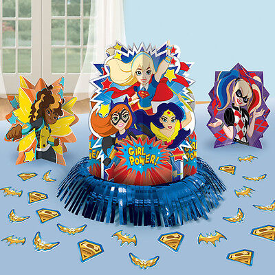 DC Super Hero Girls Table Decoration Kit Centerpiece Confetti Birthday Supply