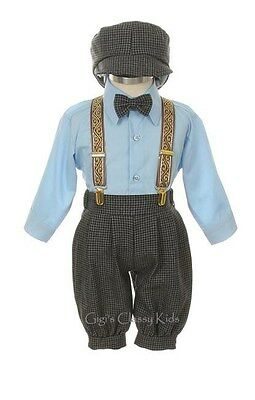 New Baby Toddler Boys Blue Knickers Vintage Suit Set Outfit Easter Christmas BBB